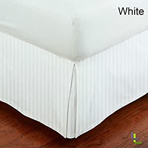* 埃及棉两种花纹纯色/条纹 400 根纱 1 件床裙 45.72 厘米秋季 4 种尺寸和 26 种颜色。 Queen/Stripe sanskrti173
