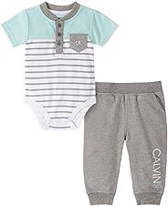 Calvin Klein 男婴 2 件裤子套装 Stripes/Medium Grey Heather 6-9 Months