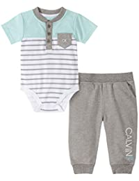 Calvin Klein 男婴 2 件裤子套装 Stripes/Medium Grey Heather 6-9 Months
