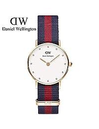 丹尼尔惠灵顿(Daniel Wellington)手表DW女表26mm表盘金色边尼龙带超薄女士石英表Classy系列 瑞典品牌 专柜同款 (蓝红两色尼龙金色边)