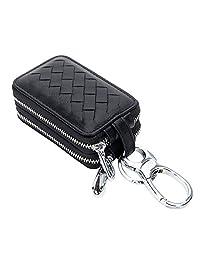KjhSaa 真皮 高档 羊皮编织 钥匙包 双层拉链 大容量 男士锁匙包 卡包