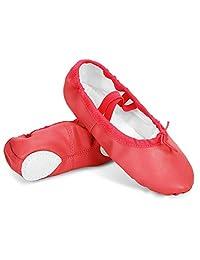 Leisfit 轻量女童女士分叉鞋底可折叠皮革芭蕾平底鞋带踝带