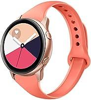 Yutior 运动表带兼容三星盖乐世 Active 40mm 和 Galaxy Watch Active 2、20mm 硅胶表带窄腕带可与 Galaxy Watch Active Active 2 女士男士黑色白色