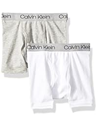 Calvin Klein 大男童 混色装平角内裤(2条装),Heather Gray/Classic White,Large/12-14