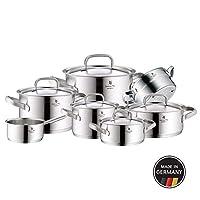 WMF 福騰寶 鍋具套裝7件套Gourmet Plus內部帶有刻度和排氣孔的蒸鍋 德國制造 空心手柄 金屬鍋蓋Cromargan?不銹鋼,適用于電磁爐和洗碗機