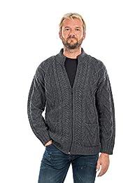 * 爱尔兰美利奴羊毛男式拉链针织冬季保暖开衫毛衣带口袋深灰色/军*