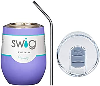 Swig 正品经典 340.19 克(盎司)葡萄*杯组合带滑动防漏盖和定制刻字不锈钢吸管 Hydrangea