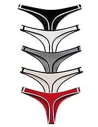 ETAOLINE 女式棉质丁字裤无缝内裤低腰内裤 5 件装
