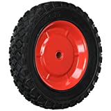 Shepherd Hardware 9599 8-Inch Semi-Pneumatic Rubber Tire, Steel Hub with Ball Bearings, Diamond Tread, 1/2-Inch Offset Axle Diameter