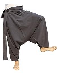 RaanPahMuang 品牌加厚 Muang 棉侧系带 Aladdin 宽松毛长裤 加大码