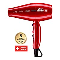 Solis Profi 吹風機, 3溫度 - 和吹風機等級, 冷風 - 按鈕, AC - 發動機, 2200瓦, 負離子 - 技術, Fast Dry (類型381) 紅色