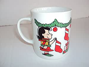 复古花生 1950 United Feature Syndicate, Inc. Merry Christmas Charlie 棕色咖啡茶杯