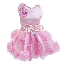 Delifur 狗狗婚礼礼服宠物生日派对芭蕾舞短裙适合小狗猫 粉红色 S