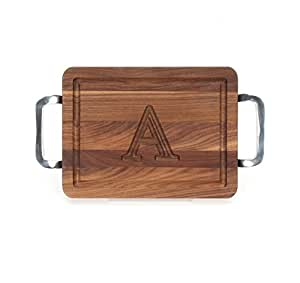 "CHUBBCO W200-SPOL-A Thick Bar/Cheese Board with Square Polished Aluminum Handle, 9-Inch by 12-Inch by 3/4-Inch, Monogrammed""A"", Walnut"