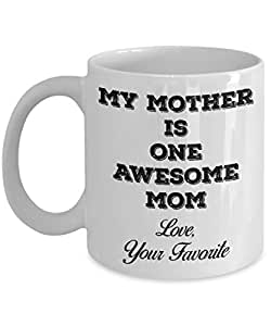 送给女士的礼物- My Mother is One Awesome Mom - 325ml 陶瓷咖啡杯 白色 11oz GB-2609318-20-White