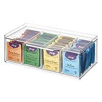 iDesign 不含 BPA 塑料可叠放茶包储物收纳盒抽屉带盖,适用于厨房橱柜和台面,31.75 厘米 x 15.49 厘米 x 11.43 厘米,透明