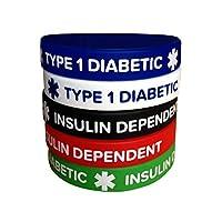 *硅胶手镯类型 1 Insulin Dependent(5 件装)成人尺寸 7.8 英寸腕带 男女款