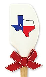 Brownlow Kitchen 54869 Silicone Spatula with Wooden Handle, Texas Flag, White