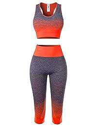 MixMatchy 女士运动健身房瑜伽锻炼运动服套装上衣和打底裤套装