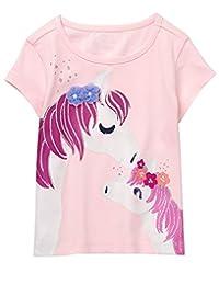 gymboree 女婴短袖闪光动物图案 t 恤
