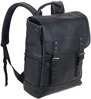 Kenneth Cole REACTION 哥伦比亚皮革单角撑襟翼电脑背包 14.1 寸(约 35.8 厘米) 黑色 均码