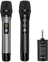 带蓝牙的无线麦克风,UHF 无线双手持动态金属麦克风系统,带充电接收器,100 英尺范围,6.35 毫米(1/4 英寸)插头,适用于卡拉OK,放大器,PA 系统,唱歌,教堂