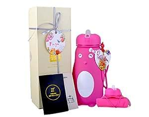 ZZ W500-P 500ML 儿童卡通水瓶,可折叠硅胶水瓶,运动水瓶,户外水瓶,轻便,*食品级,不含 BPA,经美国食品*管理局批准,17 盎司。 粉色