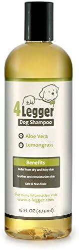 4 列克认证的有机狗洗发露 - *和低*性,芦荟和柠檬草,舒缓,适合正常、干燥、瘙痒或*敏感肌肤 - 可生物降解 - 美国制造 - 16 盎司