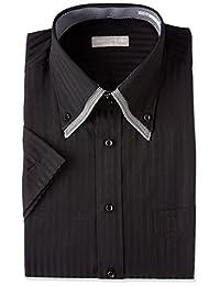 2层领扣领 黑色提花条纹 短袖衬衫 短袖衬衫 男 短袖 衬衫 Y衬衫