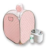 Smartmak 便携式桑拿套装,家庭水疗帽帐篷,1 人全身,包括 2 升蒸汽机,带遥控器,适用于*和*美国插头 粉红色