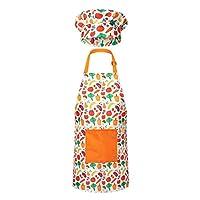 RISEBRITE 儿童围裙和厨师帽套装适合女孩和男孩用于烹饪、烘焙、园艺、绘画等