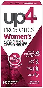 up4 女性高级护理益生菌补充剂| 有益于阴道 | 250亿CFUs| 不含麸质,素食| 60粒素食胶囊