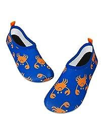 儿童水上游泳鞋赤脚水袜鞋快干防滑婴儿男孩和女孩 橙色螃蟹 9.5-10 Toddler