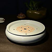易信 大双龙汝窑茶盘茶具陶瓷双层茶盘功夫茶具汝瓷开片大号圆形托盘
