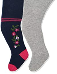 Playshoes 女童弹性乡村居民和纯色舒适裤袜(每件2件)