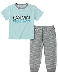 Calvin Klein 男婴 2 件裤子套装 Azurine/Grey 6-9 Months