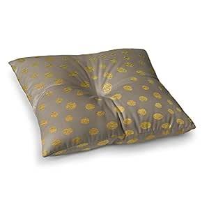 "KESS InHouse Nika Martinez""Earth Golden Dots"" 棕色黄色方形地板枕 多种颜色 26"" x 26"" MM1067CSF02"
