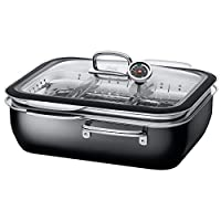 Silit 紧凑型蒸汽锅 带玻璃盖,2个烹饪盘,希拉钢,35.6 x 18.4 x 33.3厘米,6.7升,黑色