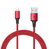 Whirldy 苹果数据线 iPhone充电器 iPhone6数据线 苹果5s数据线 车载USB快充线 适用于iPhone 7 8 5/5s/5c/SE/6/6S/7、iPod等Lightning接口设备 智能快充 安全稳定 (快充线 中国红)