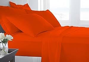 LUXURY THREAD 4 件套 - *店豪华床单 - 超软,带*多 38.1 厘米深口袋 - 易于装配 - 透气和冷却 * 有机棉床单 橙色 600TC-Short Queen LT4PC15SS-233