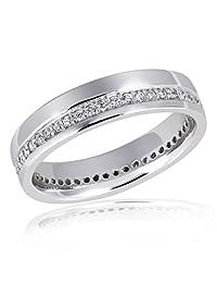 Goldmaid 亚马逊进口直采 德国品牌 纯银 女士戒指 抛光 单槽 镶嵌55颗白色方晶锆石Me R3480S54