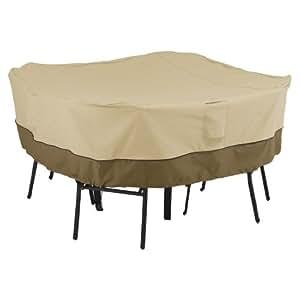 经典配件 Veranda Patio 方形桌椅套 8 只椅子 - 耐用防水天井套装套 (55-228-011501-00) 中 棕色 55-227-011501-00