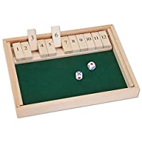 """Bits and Pieces - Wooden Shut the Box 12 Dice Game Board-Classics tabletop version of the popular English pub game - Game Board Measures 7-3/4"""" x 14"""" x 1-1/4"""" Comes with 2 dice and instructions"""