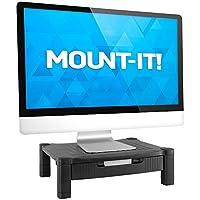 Mount-It! 桌面打印机支架,带抽屉、桌面立架和收纳架,带纸盘和办公用品存储,两个货架黑色