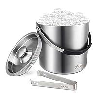 X-Chef 冰桶,不锈钢双壁 3L 冰桶带盖和冰夹,适合派对、酒吧、聚会