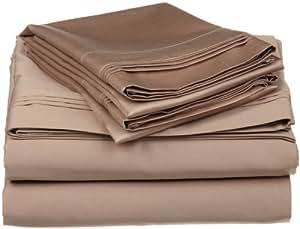 Nile Bedding 豪华*店系列埃及棉 600 支 4 件套床单套装 33.02 厘米袋深立体花纹所有尺寸和颜色(1 件床笠,1 件床单和 2 件枕套) 灰褐色 Queen