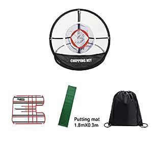POSMA CN010G 便携式高尔夫削皮推杆训练器套件,gif套装,1件击球网 +1件1.8mX0.3米 推杆垫 +1件小型推杆校准镜+1件黑色袋-高尔夫训练辅助器