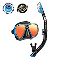 TUSA Sport Adult Powerview Black Series Mask and Dry Snorkel Combo