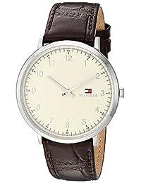 TOMMY HILFIGER 男式 ' sophisticated SPORT ' 石英不锈钢皮革休闲手表,颜色:棕色(型号:1791338)
