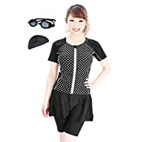 Kirei Beach健身泳衣 5件套 带护目镜 女士 分体式 遮盖体型 FH601set